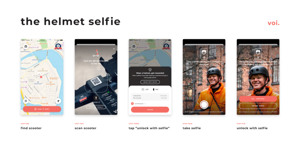"""five screens lined up next to each other showcasing how the """"helmet selfie"""" is used in the Voi app"""