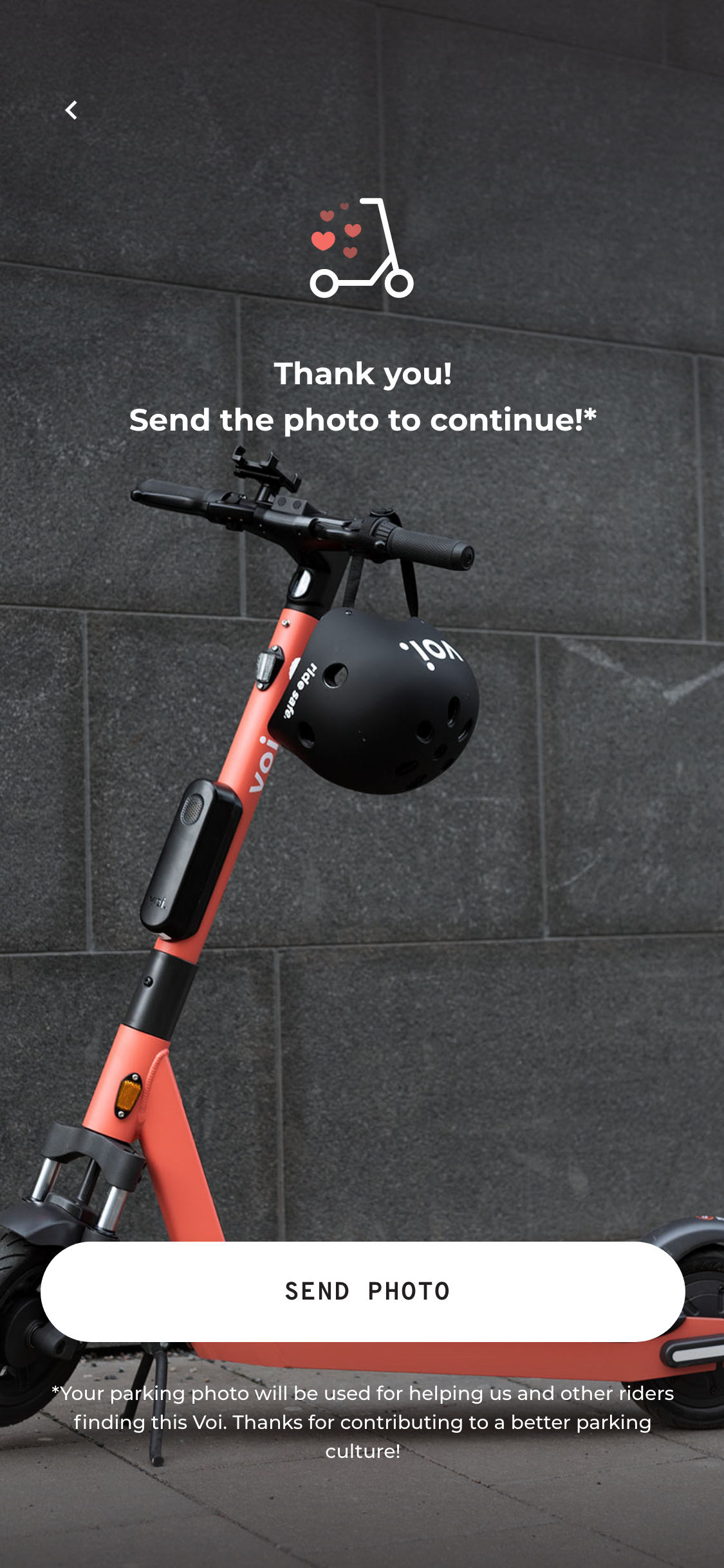 A screenshot of Voi's app confirming the End of Ride Photo is submitted.