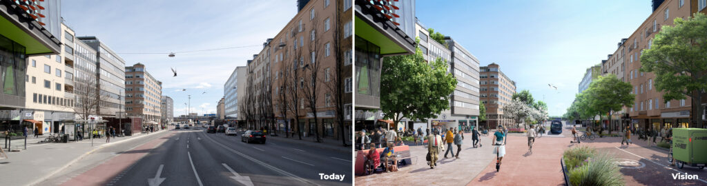 A photo of Hornstull today and a visualisation of how the area can develop in the future.
