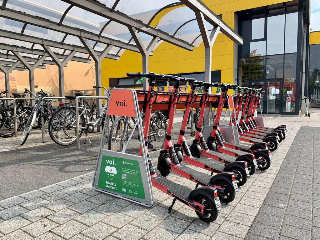 E-scooter parking racks at the train station.