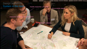 two men and two women sit around a table and discuss over a map of Stockholm
